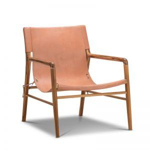 Norah Leather Sling Armchair | Teak & Natural Tan