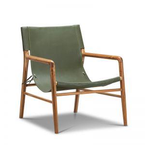Norah Leather Sling Armchair | Teak & Olive Green