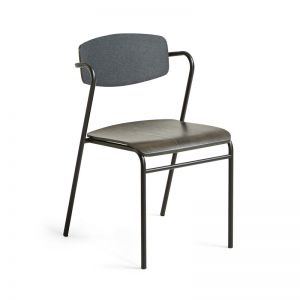 Norfort Chair | Fabric And Black Timber |  Dark Grey