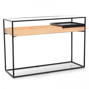 Norman Metal Frame Console | Natural and Black | Interior Secrets