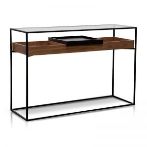Norman Metal Frame Console | Walnut | Black Tray