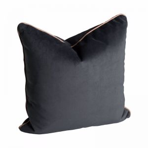 Norsu Charcoal Velvet Cushion with Blush Leather Piping