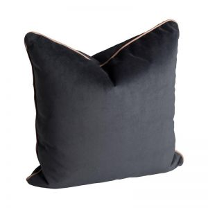 Norsu Charcoal Velvet Cushion with Blush Leather Piping |  Without Tassel