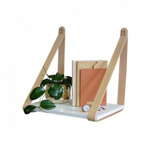 Nude Leather Strap Sidetable | White