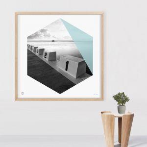 Ocean Blocks | Framed Circle Print by Burbia