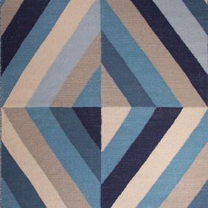 Ocean Blue | Antique White handmade felt weave rug