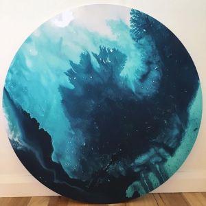 Ocean Canvas Circle Print 2