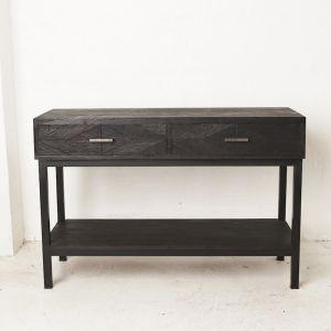 Odella Diamond Parquetry Console Black