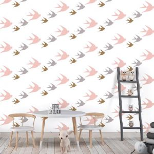 Oh Them 3 Birds! Kids - Nature's Child | Eco Wallpaper | Various Colours | Amba Florette