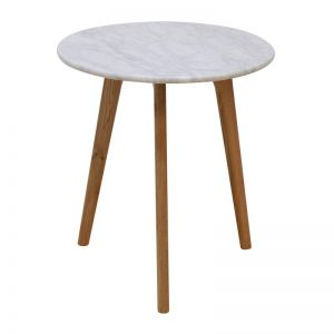 Oia White Marble Side Table