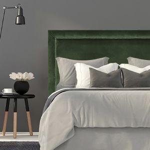 Olive Green Velvet Studded Upholstered Bedhead | All Sizes | Custom Made by Martini Furniture