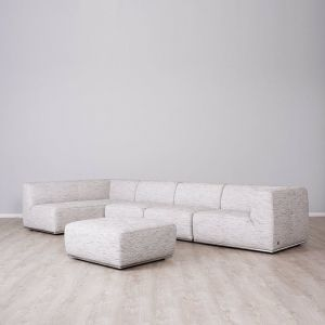 Oliver Left Chaise Lounge with Ottoman | Fabric | Light Grey