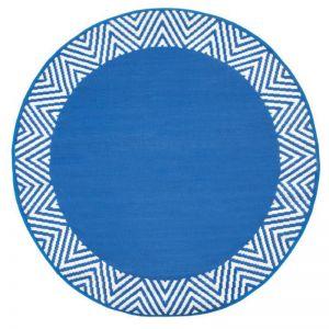 Olympia Blue Round Recycled Plastic Indoor/Outdoor Mat | 180 cm | Fab Habitat