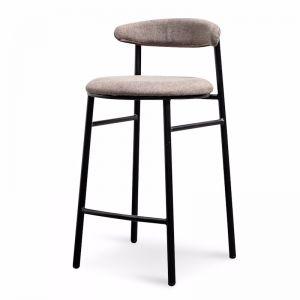 Oneal 65cm Fabric Bar Stool in Caramel Grey - Black Legs