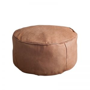 Orbit Leather Ottoman | Tan | BY SEA TRIBE