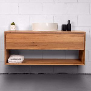 Organic The Shelf Blackbutt Timber Vanity With Timber Top