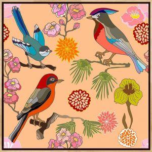 Oriental Birds #11 | Framed Canvas Print | by Tusk Gallery