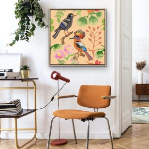 Oriental Birds #12 | Framed Canvas Print | by Tusk Gallery
