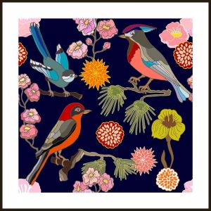Oriental Birds #5 | Framed Art Print by Tusk Gallery