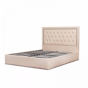 Osborne Fabric Bed Frame | King | Beige with Tufted Headboard