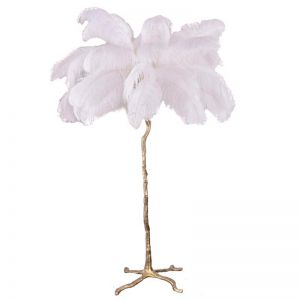 Ostro Genuine Ostrich Feather Brass Floor Lamp | Custom Colours