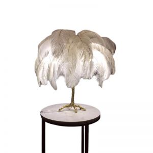 Ostro Genuine Ostrich Feather Brass Table Lamp | Custom Colours