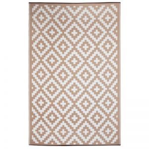 Outdoor Rug | Aztec Beige and White