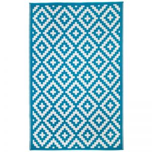 Outdoor Rug | Aztec Teal and White