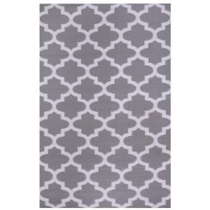 Outdoor Rug & Mat   Recycled Plastic   Tangier Grey & White