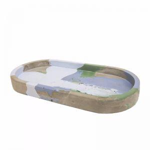 Oval Concrete Tray   by Fox & Ramona   Blues/Green/Grey