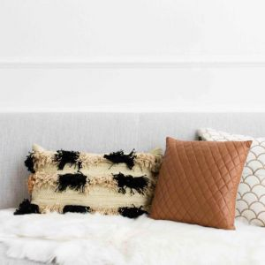 Pages Cushion by Amigos De Hoy | Square | Quilted | Tan