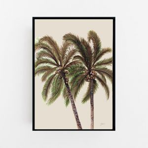 Palm Breeze Duo in Ivory Print by Pick a Pear | Canvas Wall Art