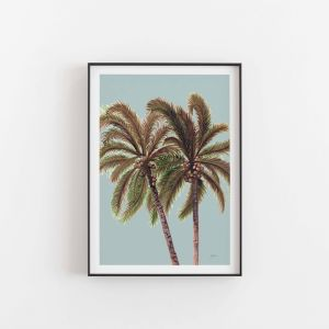 Palm Breeze in Haze Art Print | Unframed