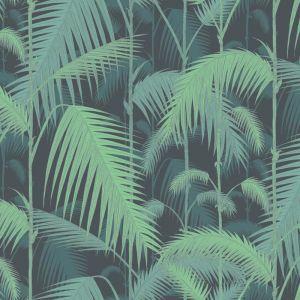 Palm Jungle wallpaper - Green on Black