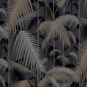 Palm Jungle wallpaper - Silvers on Black