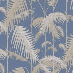 Palm Jungle wallpaper - Straw & Blue