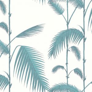 Palm Leaves Wallpaper - Blue on White