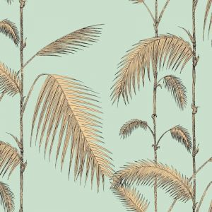 Palm Leaves Wallpaper - Gold on Green