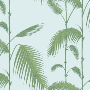Palm Leaves Wallpaper - Green on Blue