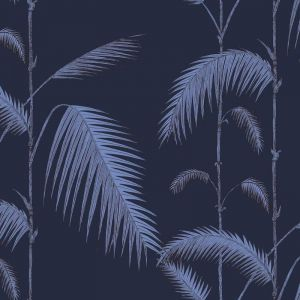 Palm Leaves Wallpaper - Violet on Ink