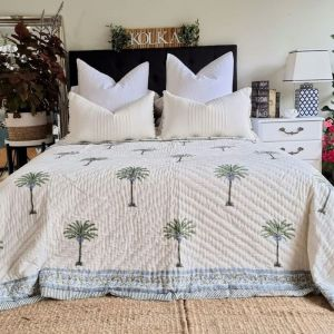 Palm Tree Reversible Quilt    Hand Block Printed   Coverlet   Quilted Bedspread