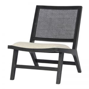 Palmer Rattan Occasional Chair | Black or White Frame with Natural Linen