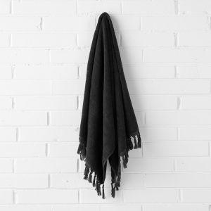 Paros Bath Sheet   Black   by Aura Home