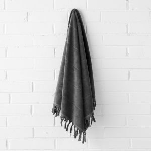 Paros Bath Sheet | Charcoal by Aura Home