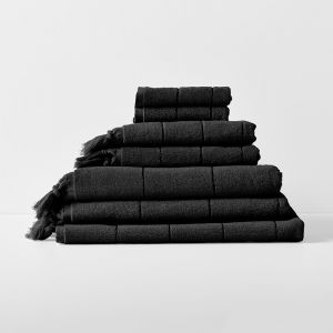 Paros Bath Towel Set | Black by Aura Home