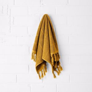 Paros Hand Towel | Mustard | by Aura Home