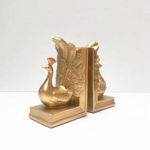 Peacock Bookends Gold | White Moose