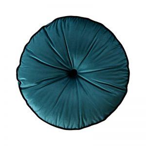 Peacock Teal Circle Velvet Cushion