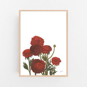 Peonies in Deep Red Maroon Burgundy by Pick a Pear | Framed Wall Art