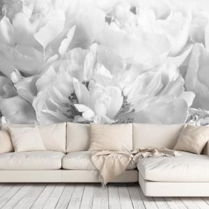 Peony Black and White | Full Wall Mural